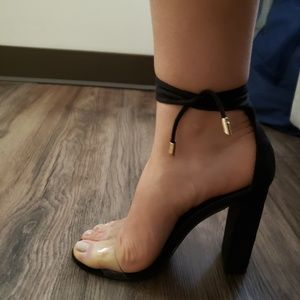 Shoes - Black Lace up perspex heels